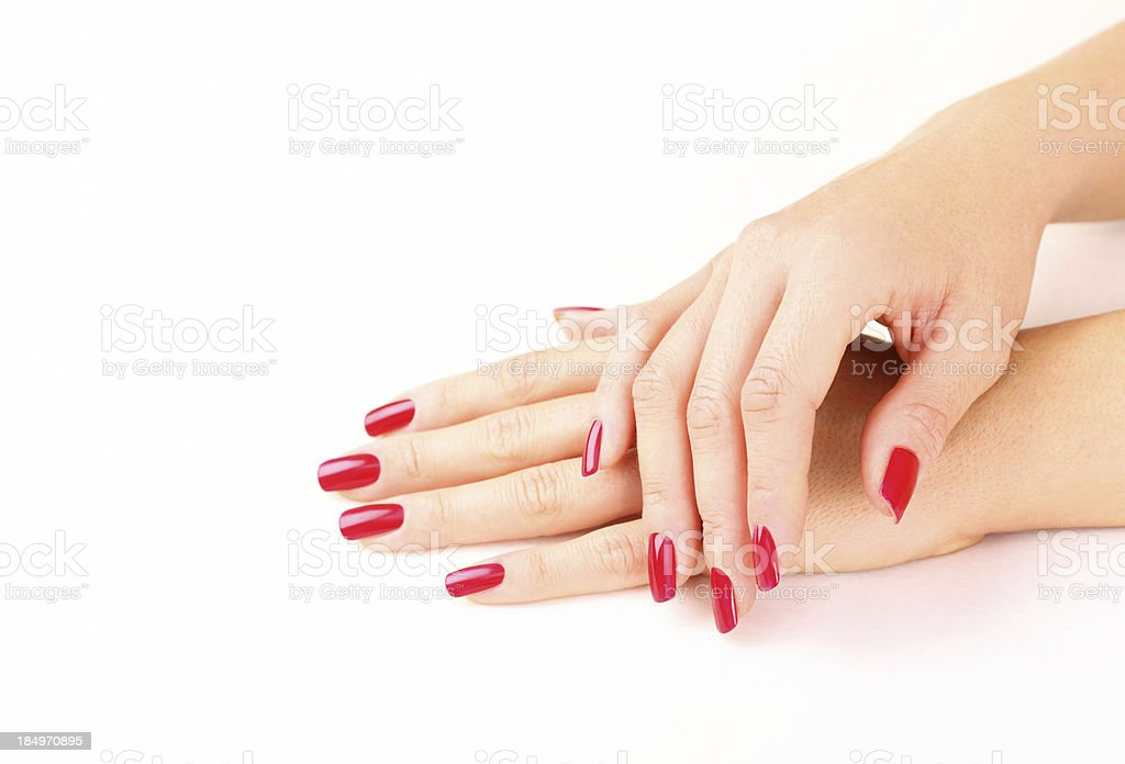 Red fingernails,closeup. stock photo