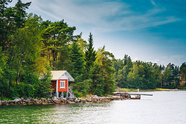 red finnish wooden bath sauna log cabin in summer - finland stock pictures, royalty-free photos & images