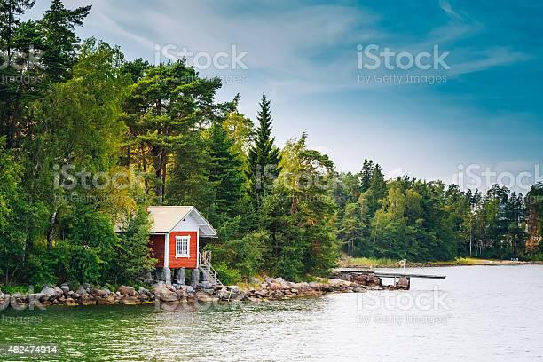 Photo of Red Finnish Wooden Bath Sauna Log Cabin In Summer