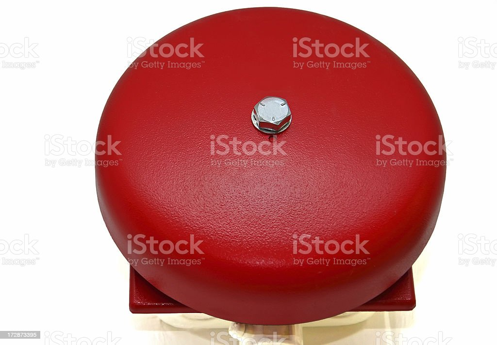 Red fire alarm bell (close-up) stock photo