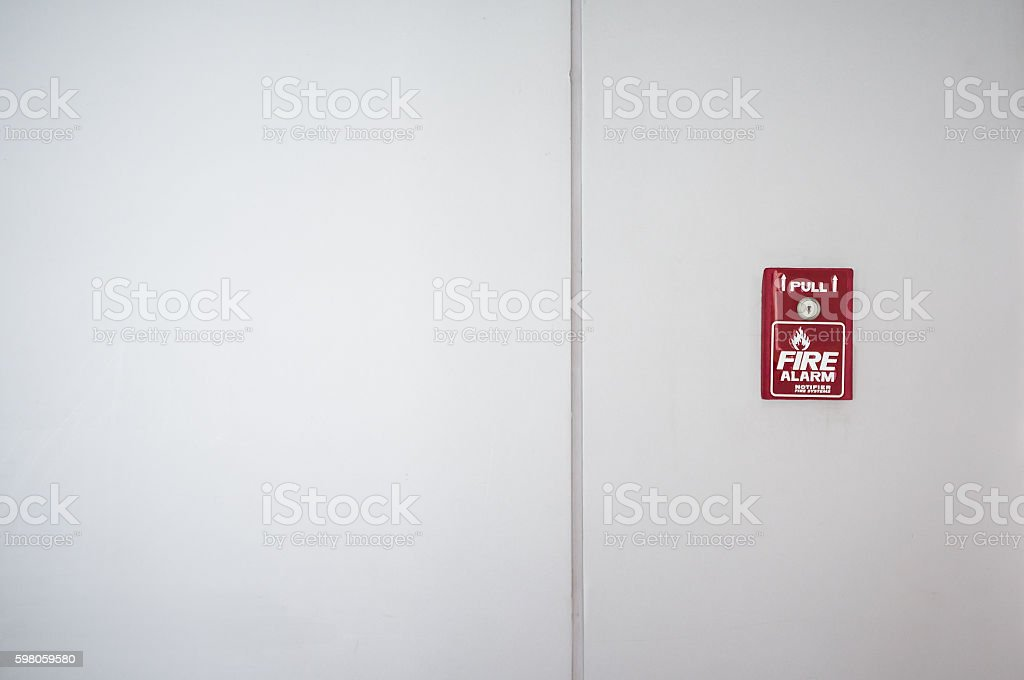 Red fire alarm box  for security system stock photo