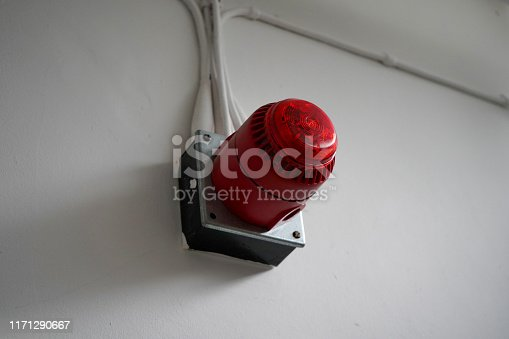174913699 istock photo Red fire alarm sounder on a white wall 1171290667