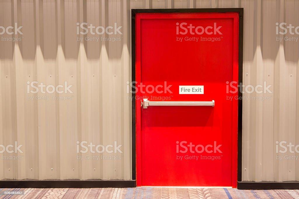 Red fire exit door stock photo