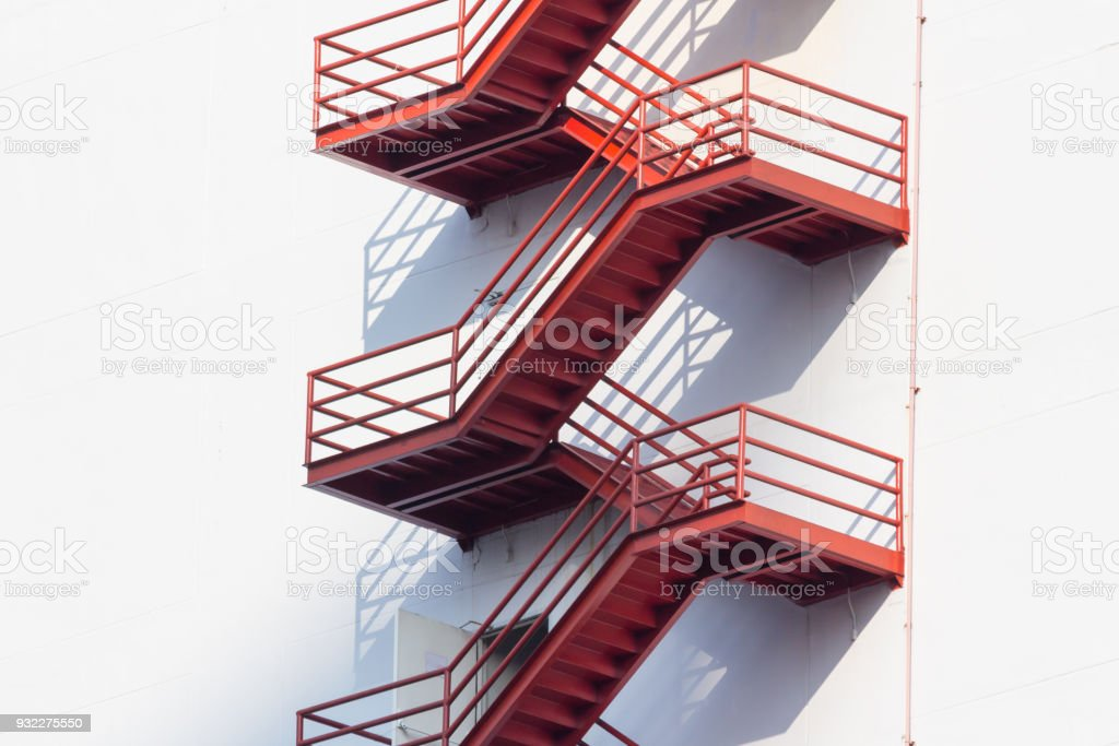 Red Fire Exit Stair Outdoor Fire Escape Ladder Stock Photo Download Image Now Istock