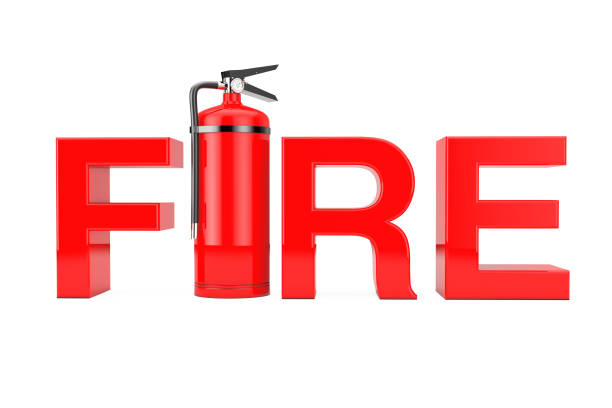 red fire extinguisher as fire sign. 3d rendering - detachment stock pictures, royalty-free photos & images
