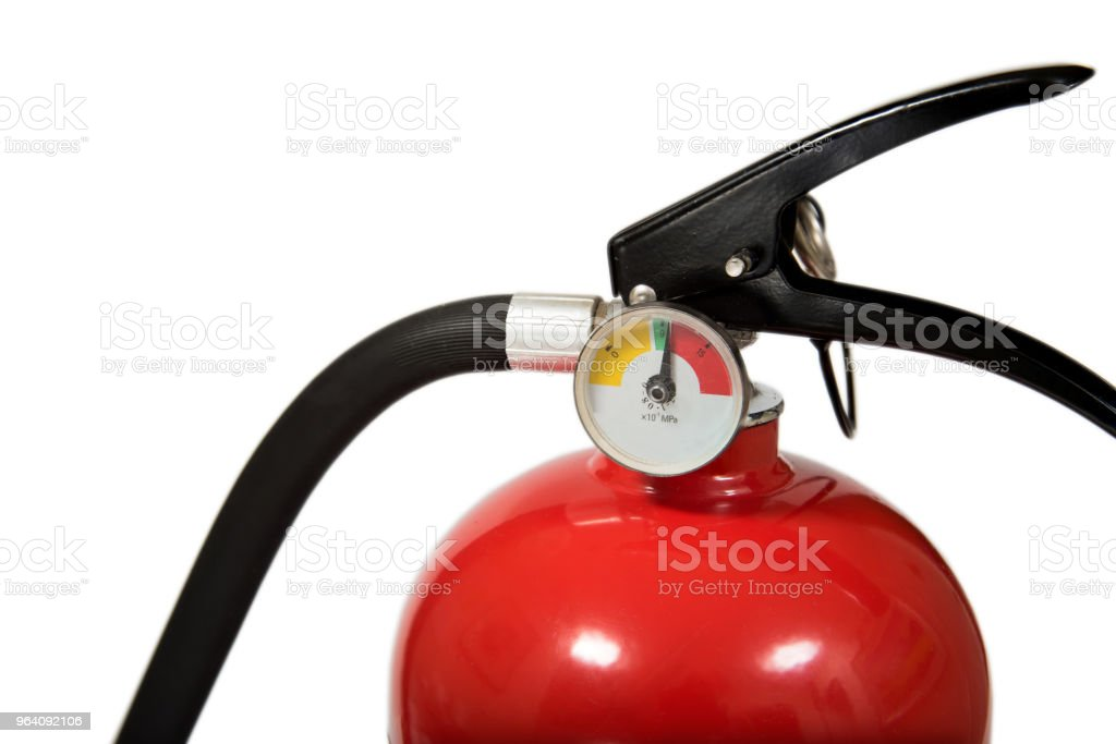 Red Fire Extinguisher With Copy Space Isolated on White Background - Royalty-free Alarm Stock Photo