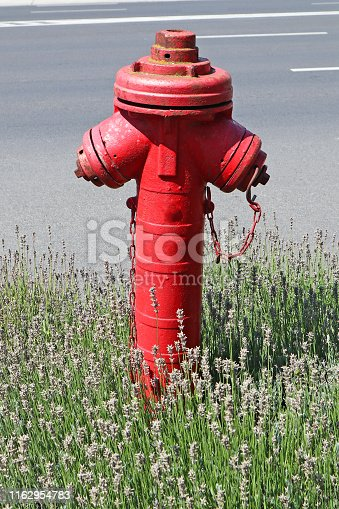 Red fire hydrant next to the road