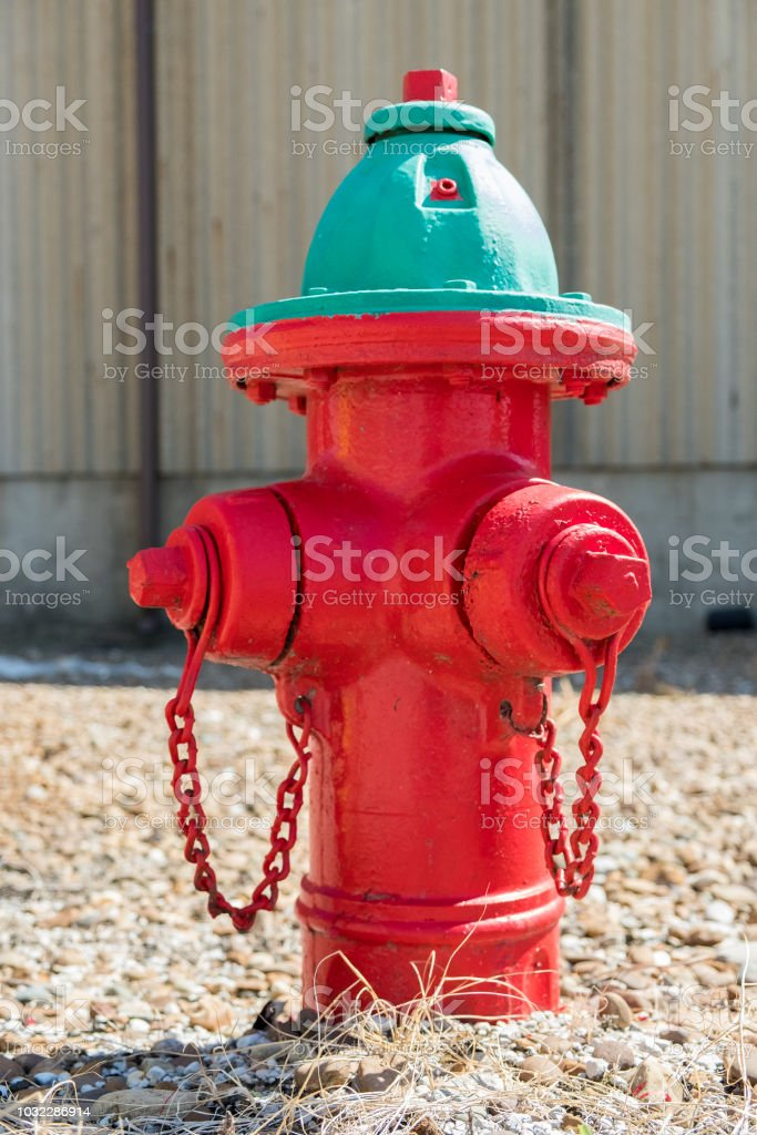 Red fire hydrant with green top
