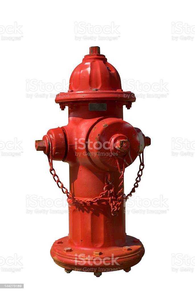 Red fire hydrant with spots of faded paint stock photo