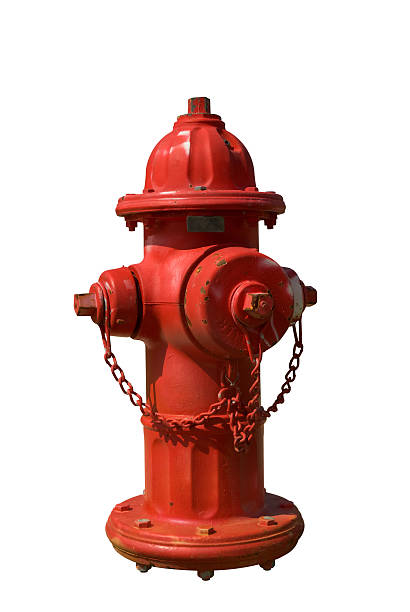 Red fire hydrant with spots of faded paint Vintage Red Fire Hydrant isolated over white fire hydrant stock pictures, royalty-free photos & images