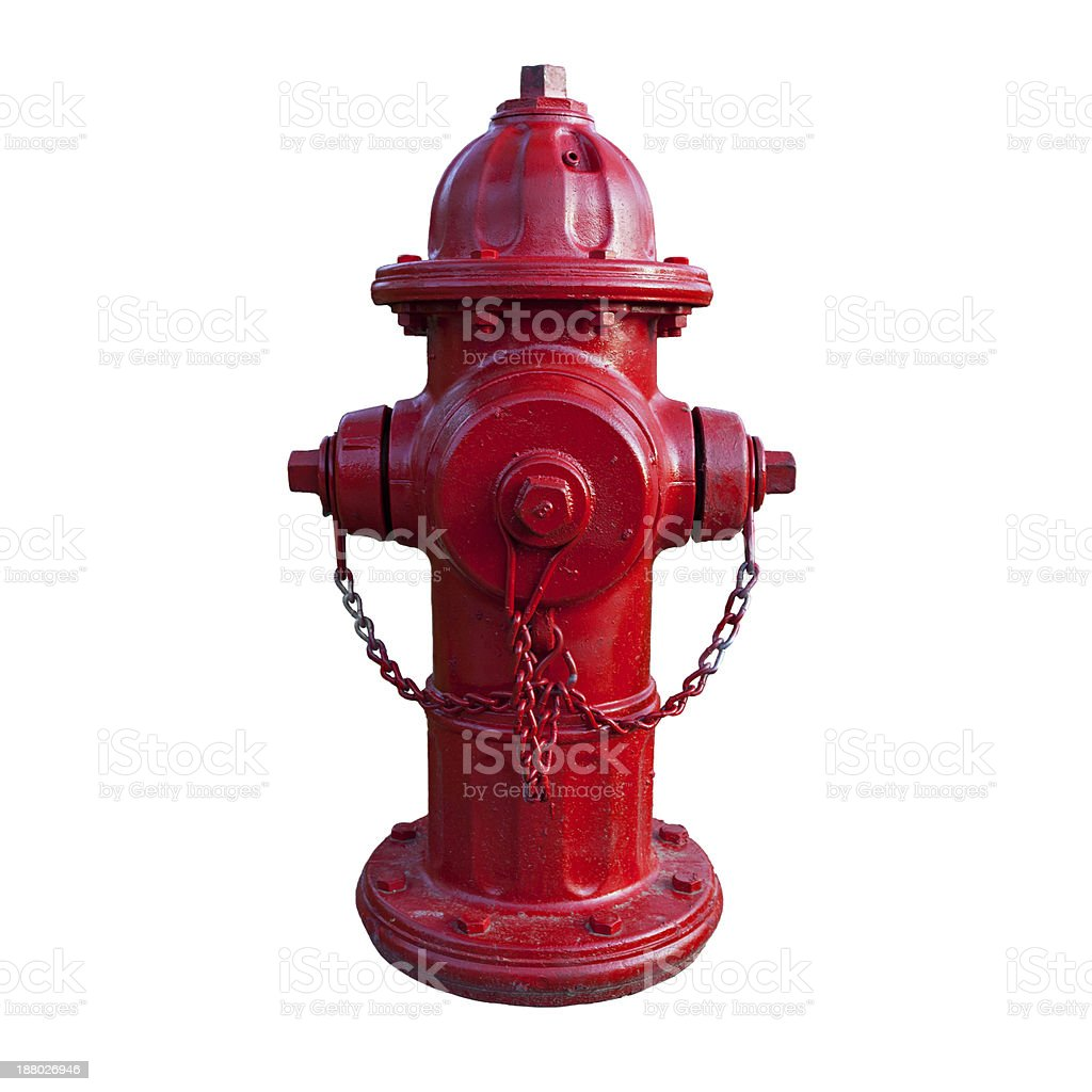 Red fire hydrant with white background stock photo