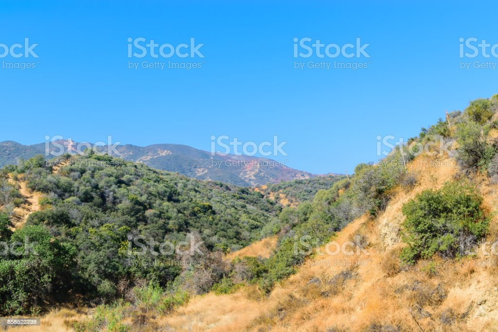 Red fire retardant in Southern California stock photo