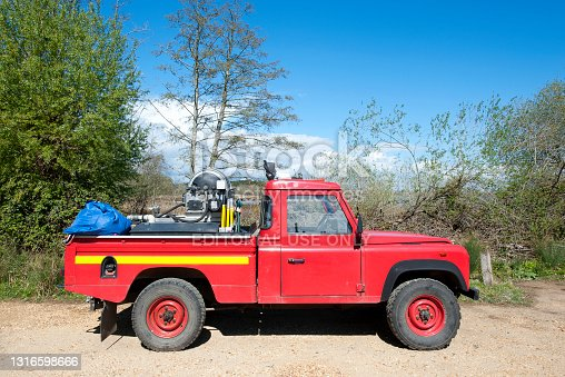 istock Red Fire Tender, Brownsea Island, Poole Harbour, England 1316598666