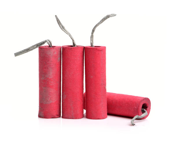 Red firecrackers   isolated on white background.Firecracker stock photo