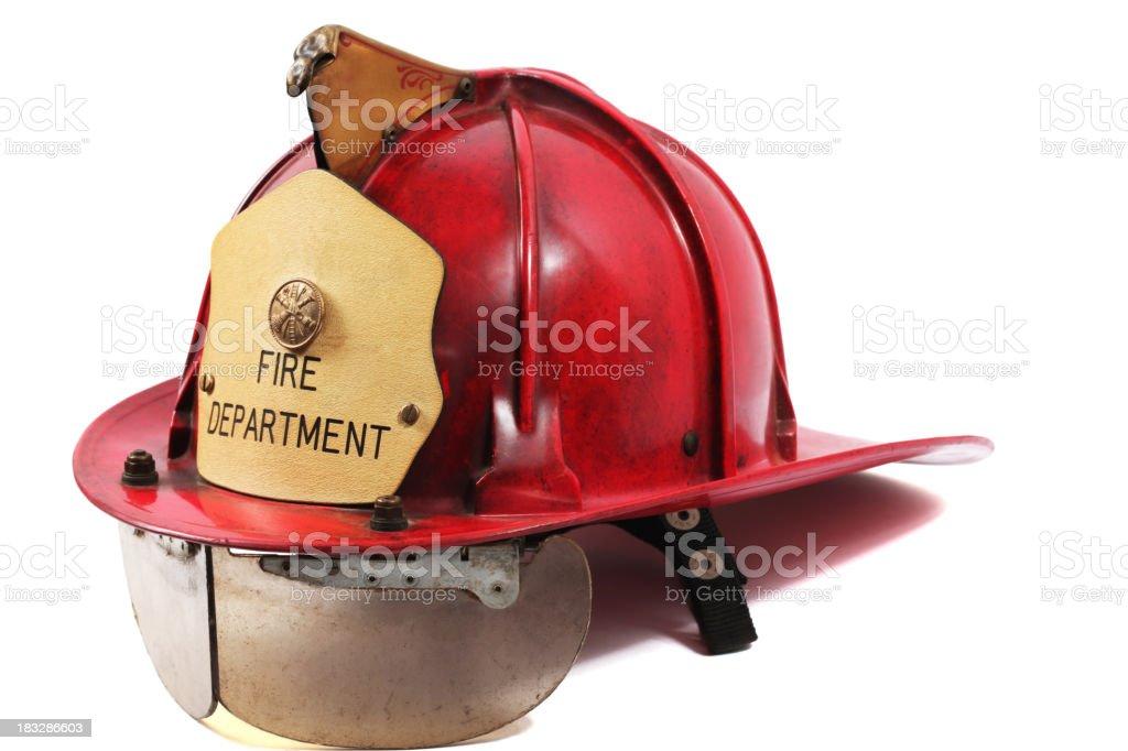 Red Firefighter's helmet stock photo