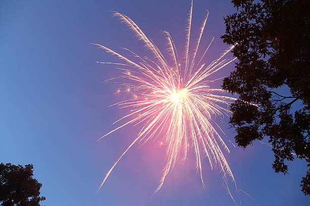 Red firework explodes in the night sky stock photo