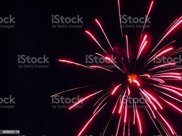 Red Firework Stock Photo - Download Image Now