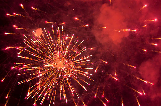 red fireworks - petard stock photos and pictures