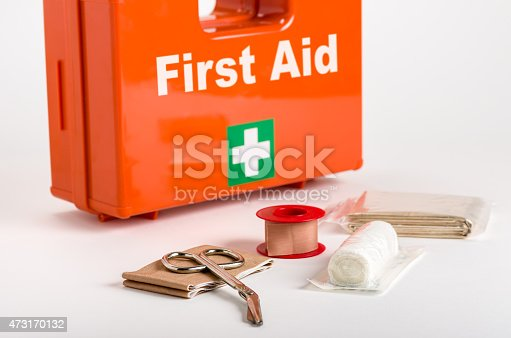 istock A red first aid box with supplies for dressings in front 473170132