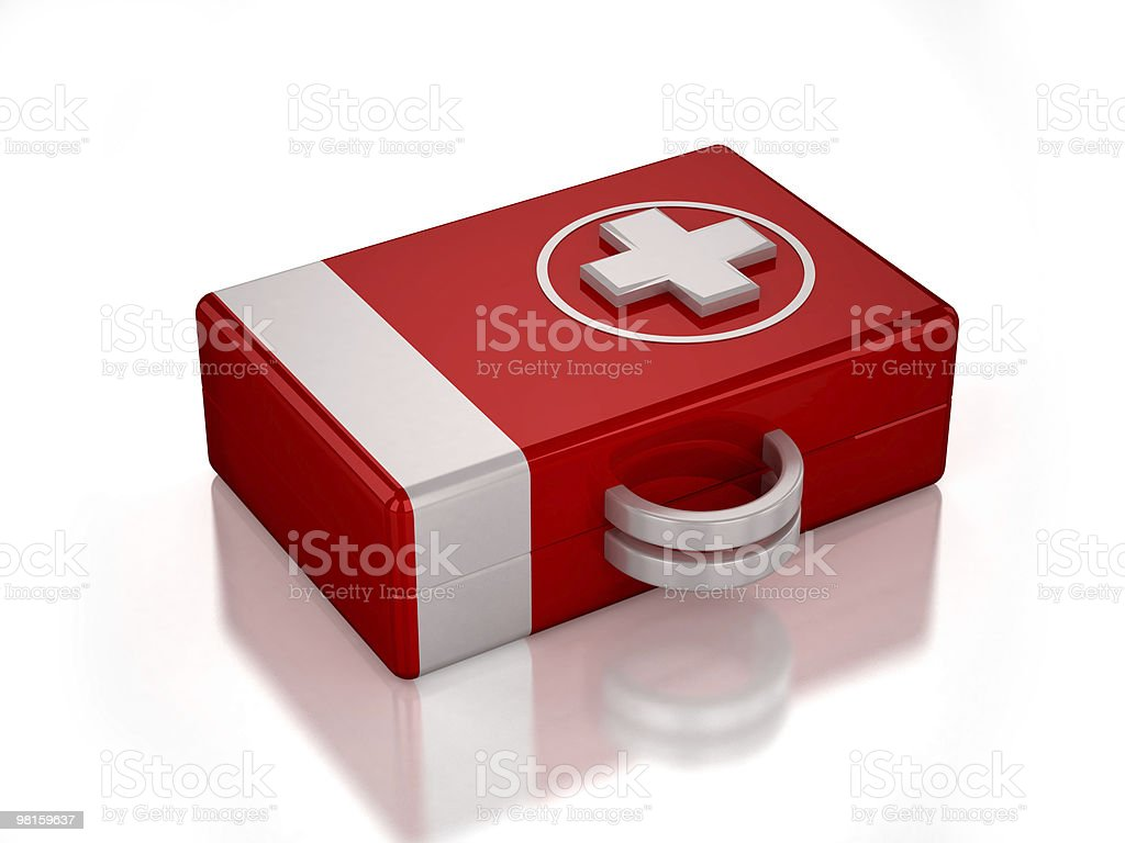 3D red first aid kit royalty-free stock photo