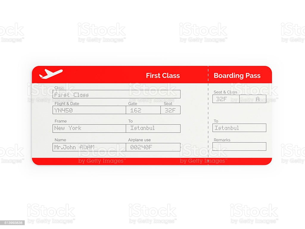 Red First Class Airline Ticket Stock Photo - Download Image Now - iStock