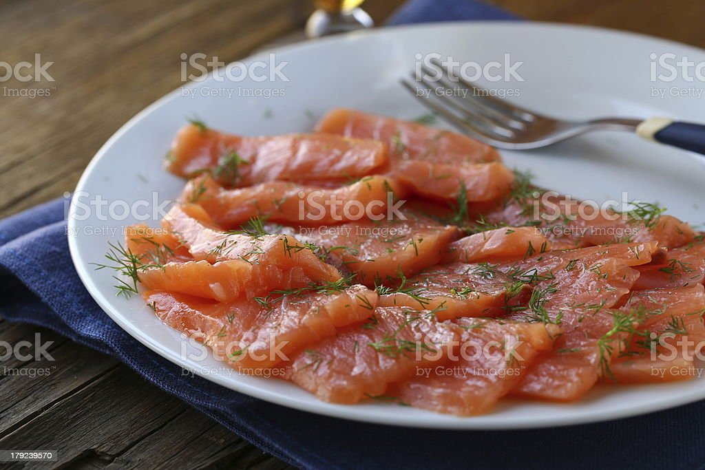 red fish (Salmon) with dill - gourmet appetize royalty-free stock photo