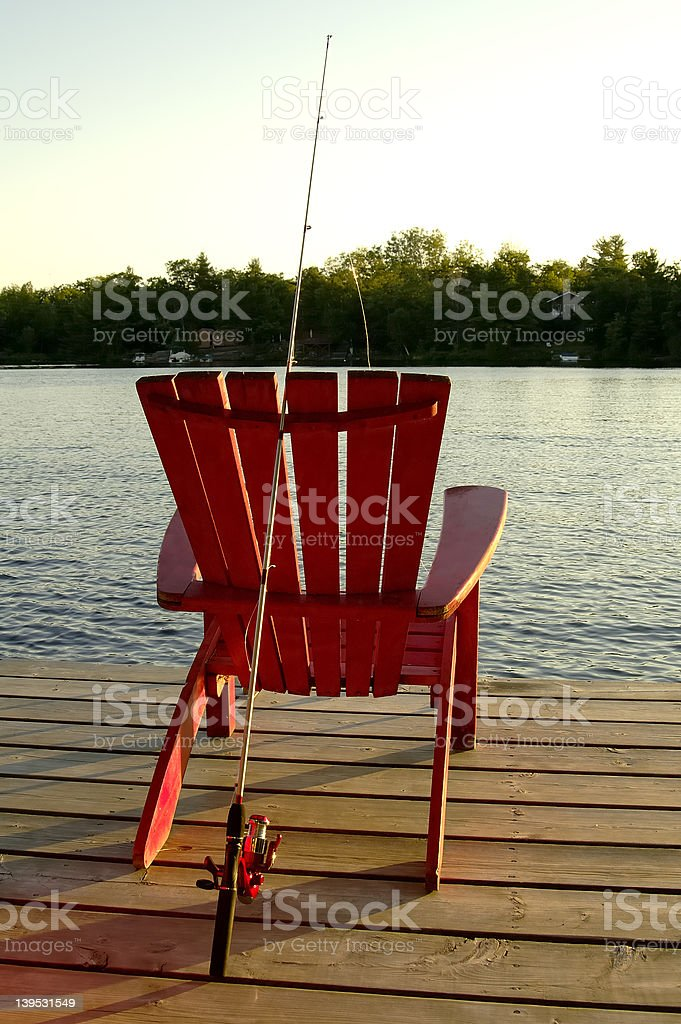 Red Fishing Chair stock photo