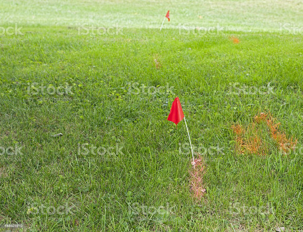 Red Flag and Paint Mark Underground Electric Lines stock photo