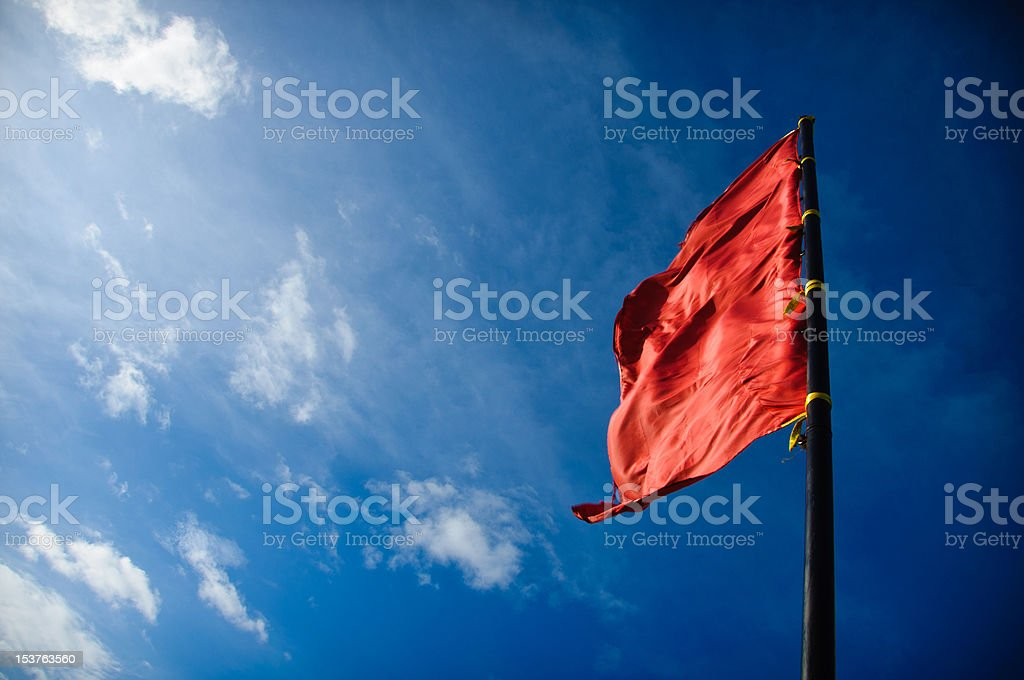 red flag is up stock photo