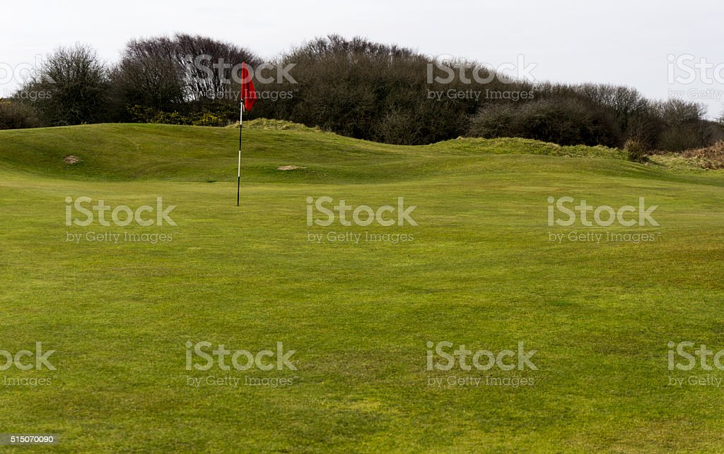 Red flag on a winter putting green stock photo