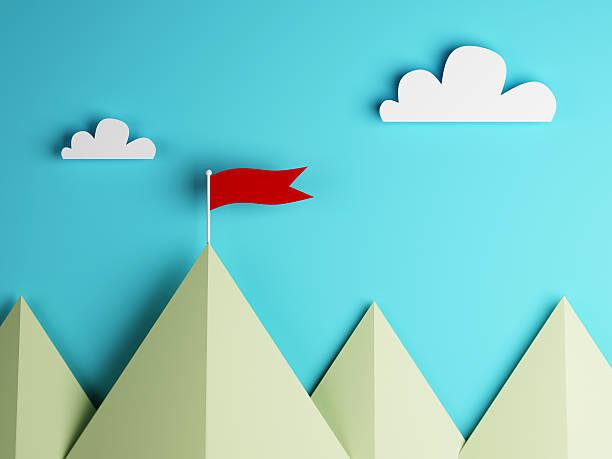 레드 플래그를 산 및 클라우드 스카이 - mountain top 뉴스 사진 이미지