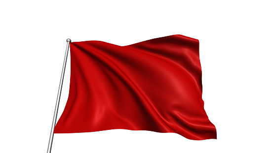 Blank red flag with fabric structure in the wind