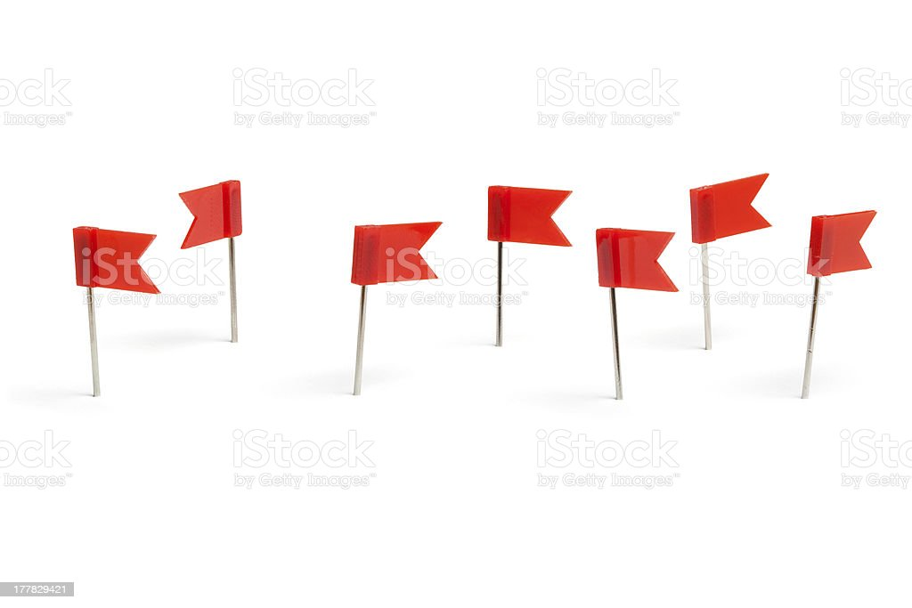 Red flag push pins stock photo