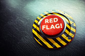 istock Red Flag Warning Button Concept 644328002