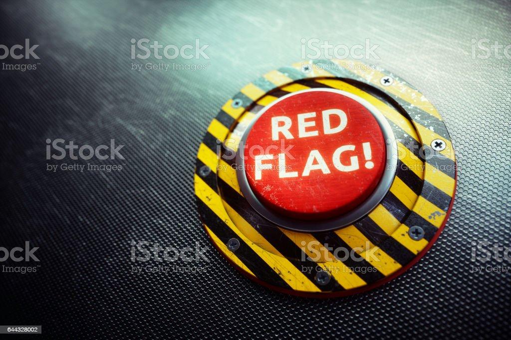 Concepto de botón de advertencia de bandera roja - foto de stock