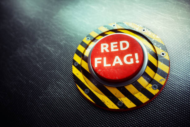 red flag warning button concept - alarm stock pictures, royalty-free photos & images