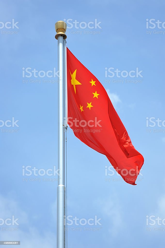 Red Flag with five stars royalty-free stock photo