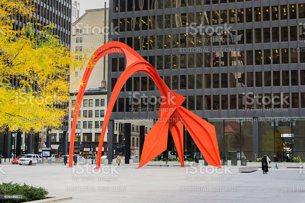 Red Flamingo sculpture in Chicago stock photo