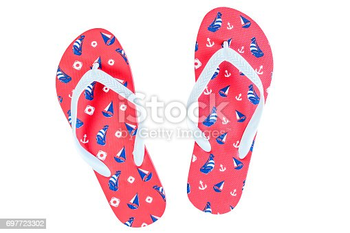 734413f94ff2 Red Flip Flops Isolated On White Background Top View Stock Photo   More  Pictures of Arts Culture and Entertainment