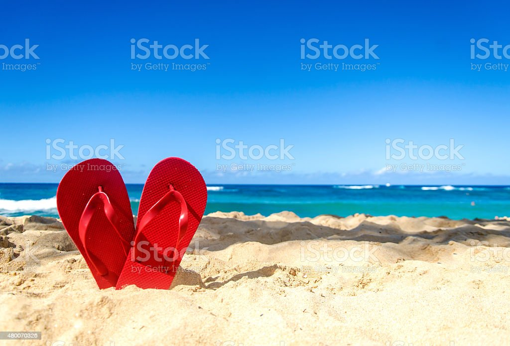 Red flip flops on the sandy beach stock photo