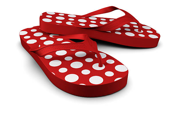 Red Flip-flops with white spots stock photo