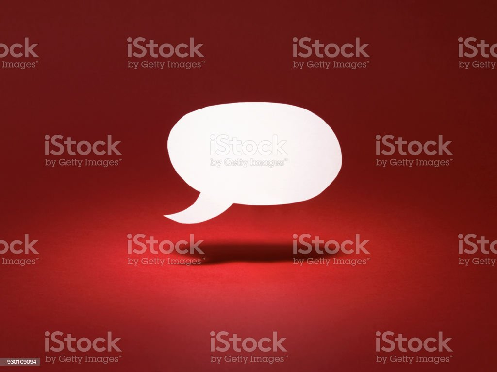 red floating blank speech bubble stock photo