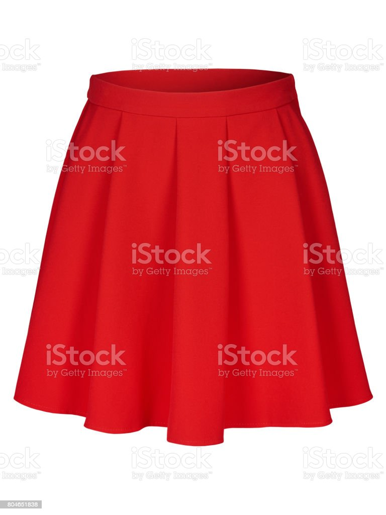 Red flounce skirt on invisible mannequin isolated on white stock photo