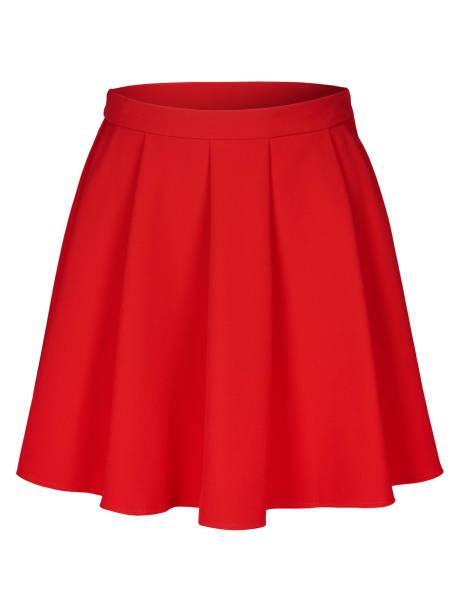 red flounce skirt on invisible mannequin isolated on white - spódnica zdjęcia i obrazy z banku zdjęć
