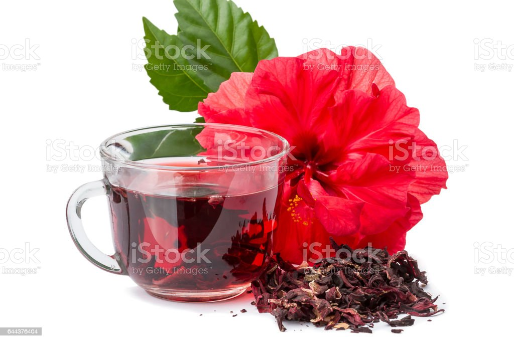 Red flower and hibiscus hot tea stock photo