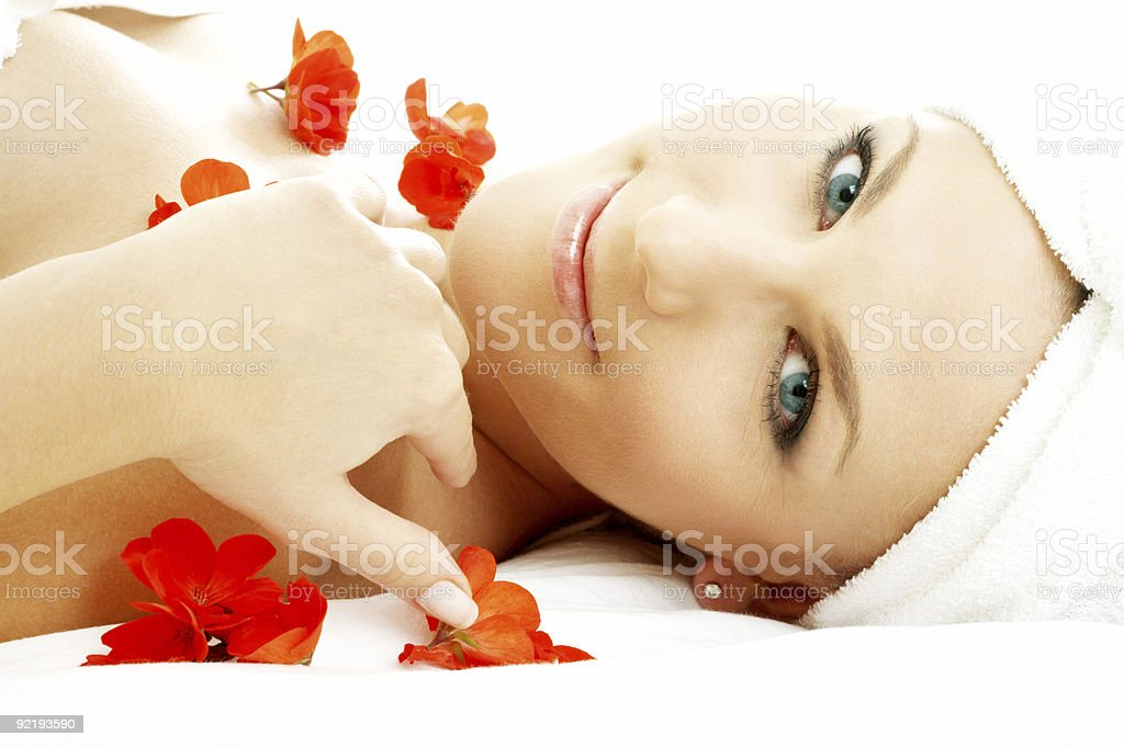 red flower petals spa #3 royalty-free stock photo