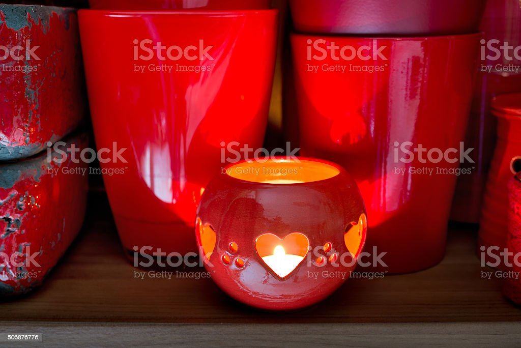 red flowerpots in the florist store stock photo