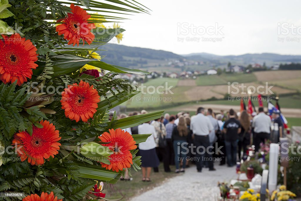 Red flowers for a funeral royalty-free stock photo