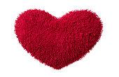 Red fluffy plush heart valentine wedding
