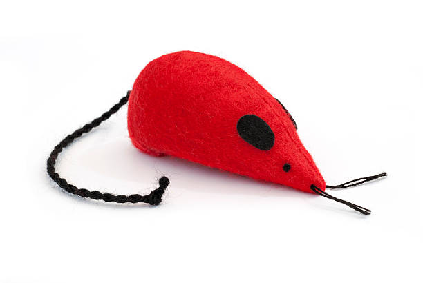 Red fluffy stuffed toy mouse stock photo